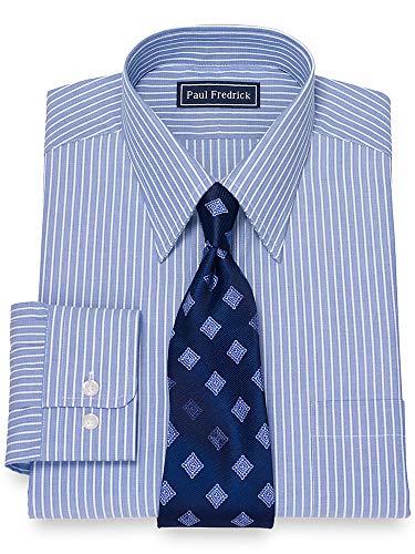 Paul Fredrick Men's Cotton Rope Stripe Button Cuff Dress Shirt Navy 15.5/34