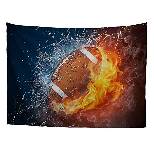 HUGS IDEA Wall Hanging Sports Decor Tapestries American Football Rugby Ball on Fire and Water Flame Splashing Lighting Abstract Prints Living Room Dorm Wall Tapestry ()