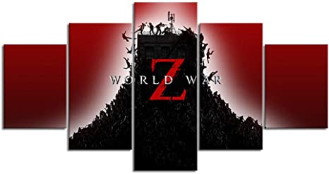 Mxsnow 5 Cuadro Sobre Lienzo Marco Hd World War Z: Outlive The Dead Shooting Game Poster Home Decor Wall Sticker Zombie Picture Canvas Painting Gift Impresiones En Lienzo: Amazon.es: Hogar