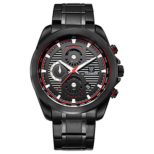Cadisen Mens Quartz Sport Calendar Date Unique Sub Dial Design Military Luxury Waterproof Wrist Watches With Black Stainless Steel Strap