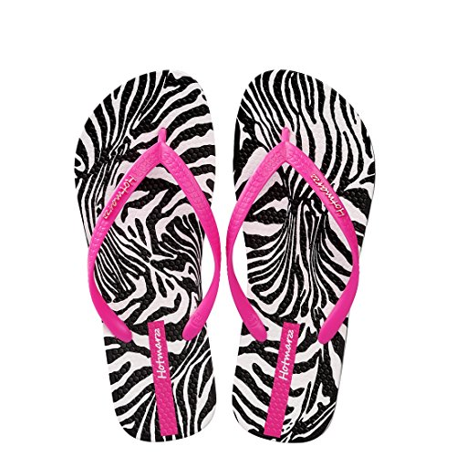 Price comparison product image Hotmarzz Women's Animal Stripe Summer Beach Slippers Tong Sandals Flat Slides Size 9 B(M) US/40 EU/41 CN, Rose Red