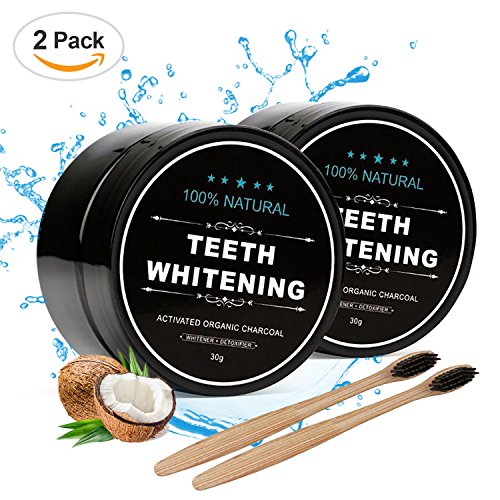 Piero Lorenzo Natural Teeth Whitening Powder 2 Packs - Coconut Activated Charcoal - Effective Teeth Whitener with 2 Packs Bamboo Toothbrush