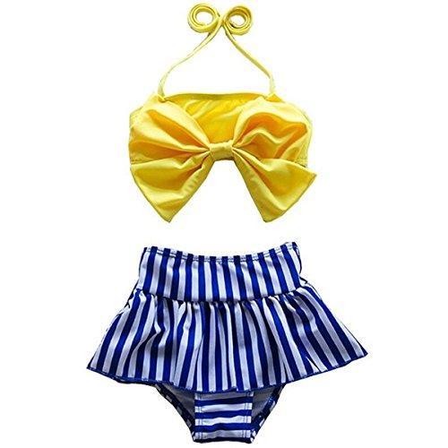Jastore Baby Girls Big Bowknot Stripe 2 Pieces Swimwear Swimsuits Beach Wear