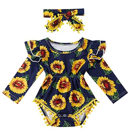 Kids4ever Baby Girl Pom Pom Romper Infant Toddler Sunflower Print Bodysuit