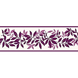 Fine Decor FDB07507S Plum Leaf Trail Peel & Stick Border, Purple