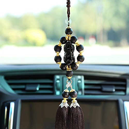 COGEEK Hand Made Agate Jewelry Crystal Talismans Brave Hanging Ornaments Fashion Tassels Detachable Combination Pendant Car Accessories (black) (Talisman Agate)