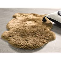 Genuine Sheepskin Rug Soft Fur Single Pelt Throw Rug for Sofa, Bed Or Floor Decor, (Honey Brown)