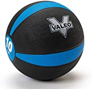 Valeo -Pound Medicine Ball with Sturdy Rubber Construction and Textured Finish, Weight Ball Includes Exercise Wall Chart for
