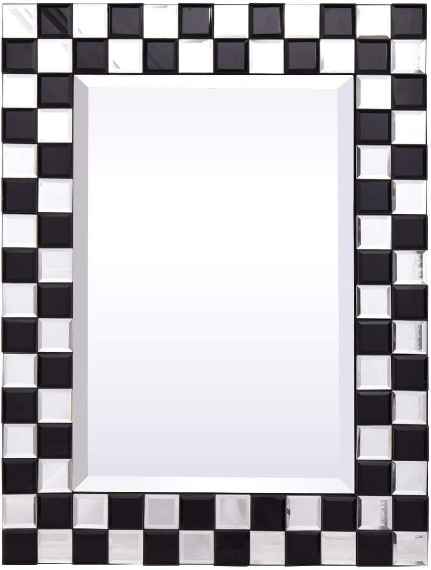 Tangkula Bathroom Wall Mirror, 23.5 x 31.5 Inches, Beveled Wood Frame Mirror Rectangle Home Bathroom Mirror