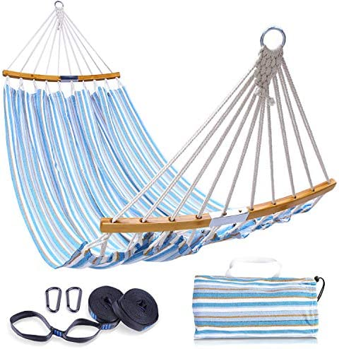 Ohuhu Double Hammock SwingTree Straps Folding Curved-Bar Design 2020 Upgraded Space-Saving Bamboo HammockCarrying Bag Portable Hammock for Patio Backyard Camping Beach Blue Stripe