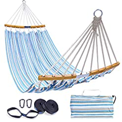 Garden and Outdoor Ohuhu Double Hammock with Tree Straps Kit, Folding Curved-Bar Bamboo Hammock with Carrying Bag, Portable 2-Person… hammocks
