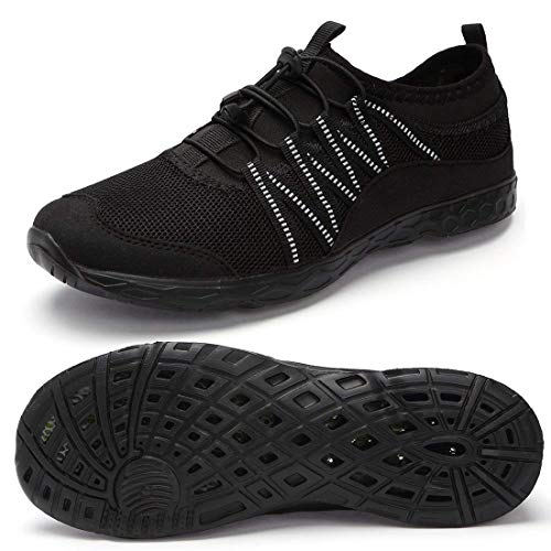eyeones Womens Quick Drying Aqua Water Black Shoes Athletic Breathable Beach Lightweight Diving Shoes Stylish Women Sports Aqua Shoes Size 5.5