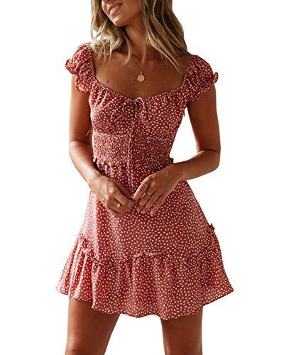 Valphsio Women's Ruffle Hem Mini Dress Summer Elastic High Waist A Line Dress - A-line Smocked