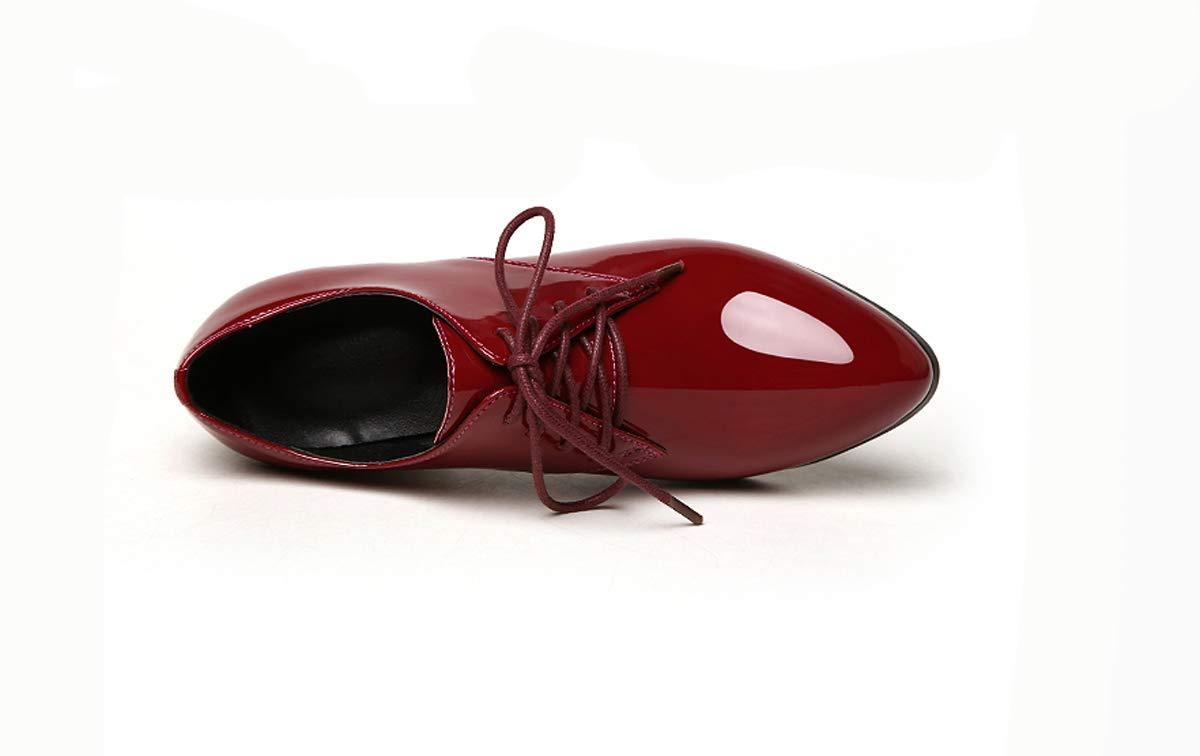 KOKQSX-Leder Damenschuhe die absätze die Mitte Schuhe Mode Casual Schuhen Runden Kopf schnürsenkel Einzelne Schuhe 34 Bordeaux - Wein