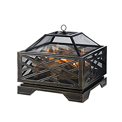 Pleasant Hearth Martin Extra Deep Wood Burning Fire Pit, 26-Inch - Extra deep design provides plenty of space for a raging fire. Mesh cover to reduce the number of escaping sparks The built-in Circulair system provides more air flow for bigger flames and a more consistent fire. - patio, fire-pits-outdoor-fireplaces, outdoor-decor - 51qYG3 K1QL. SS400  -