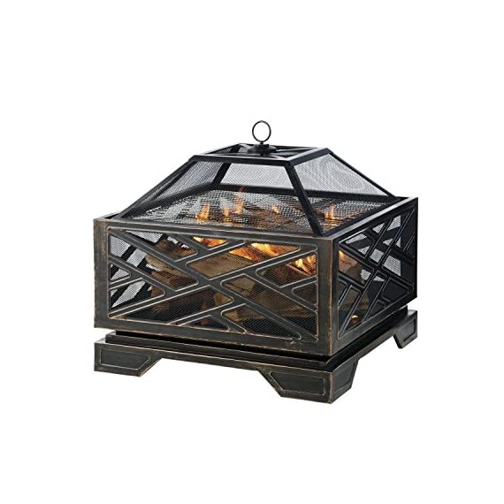 Pleasant Hearth Martin Extra Deep Wood Burning Fire Pit, 26-Inch - Extra deep design provides plenty of space for a raging fire. Mesh cover to reduce the number of escaping sparks The built-in Circulair system provides more air flow for bigger flames and a more consistent fire. - patio, outdoor-decor, fire-pits-outdoor-fireplaces - 51qYG3 K1QL. SS570  -