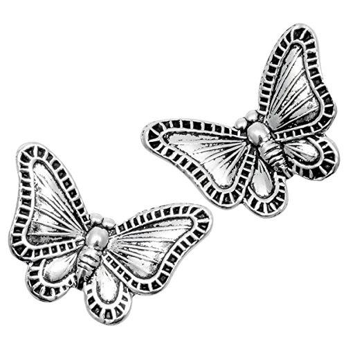 (YACQ 925 Sterling Silver Butterfly Wings Flower Earrings Costume Jewelry for Women Teen)