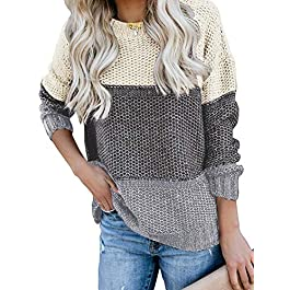 Women's Round Neck  Knit Sweater Casual Pullover Jumper