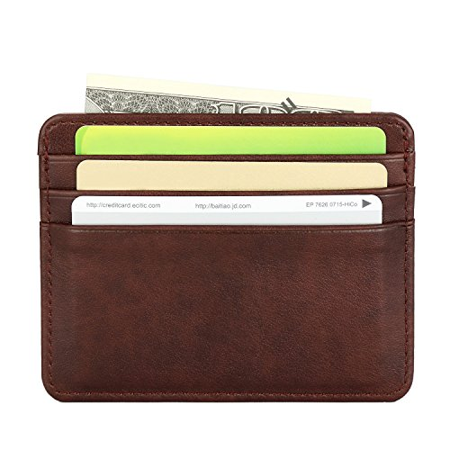Slim Leather Wallet Credit Card Case Sleave For Men Wemen (Brown)