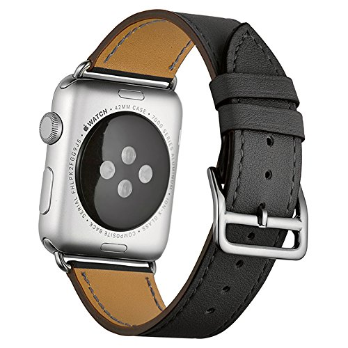 Photo - Apple Watch Band,Valkit(TM) Luxury Genuine Leather Watch Band Strap Bracelet Replacement Wrist Band With Adapter Clasp for iWahtch Apple Watch 38mm& Sport & Edition--Single tour - (Gray)