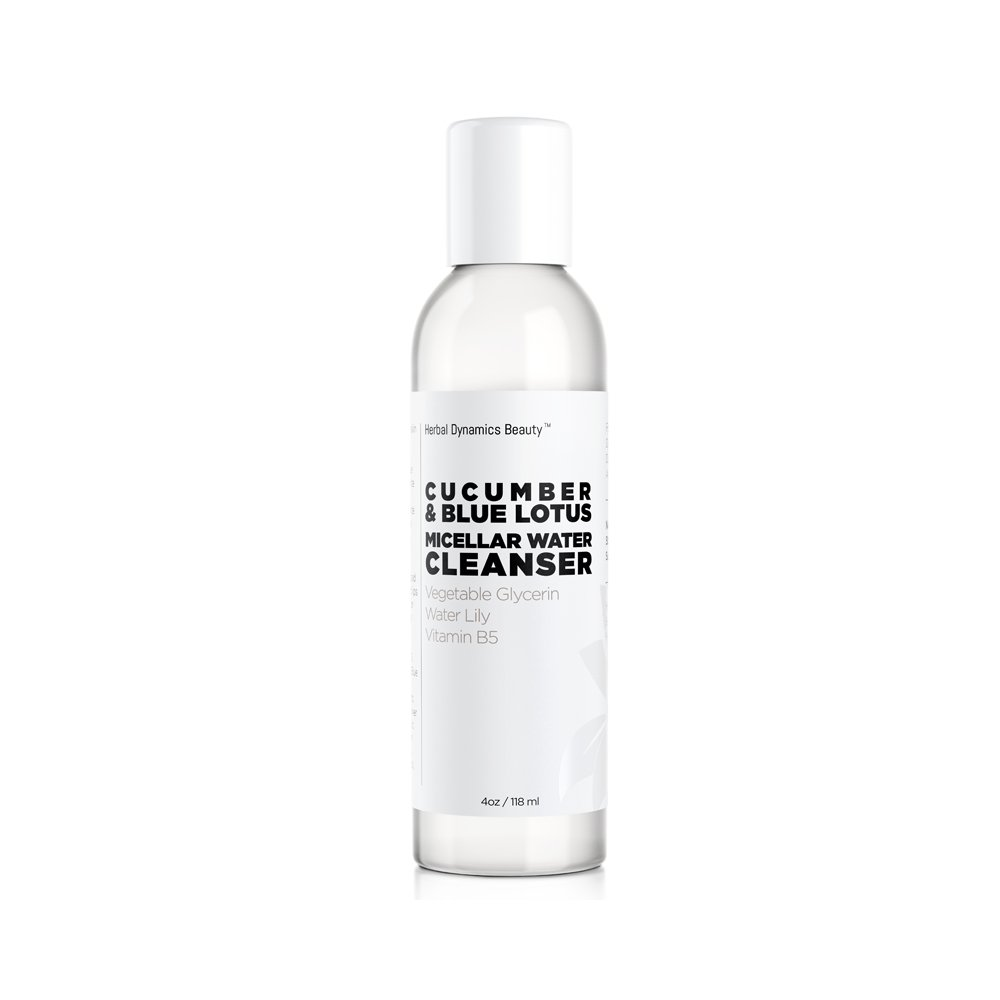 HD Beauty Cucumber + Blue Lotus Micellar Water Cleanser with Vegetable Glycerin, Water Lily, and Vitamin B5 removes Makeup, Dirt, and Excess Oils on the Skin, 4.0 oz.