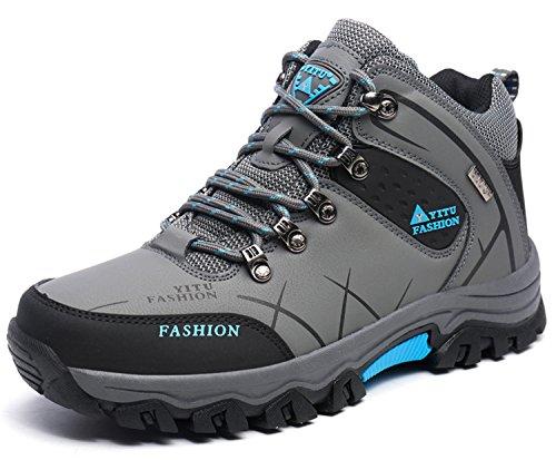 LILY999 Zapatos de trekking y senderismo para hombre Deportes al aire libre Botas de amortiguación antideslizante Mantener caliente Gris