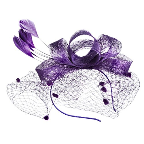 (XILALU Fashion Women Fascinator Mesh Kentucky Derby Hat Mesh Ribbons Feathers Party Victorian Wedding Bridal Headpiece (Purple))