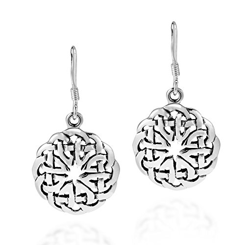 (Round Celtic Heart Knot .925 Sterling Silver Dangle Earrings)