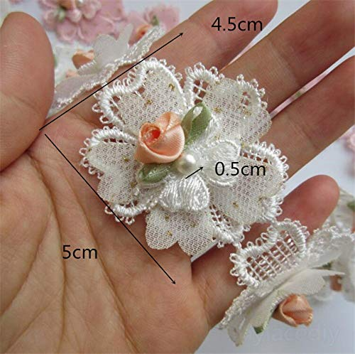 Flower Pearl Lace Edge Trim Ribbon Embroidered Applique Crochet Sewing Patches