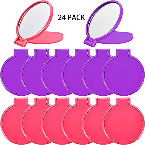 24 Pieces Mini Folding Mirror Compact Portable Round Mirror Makeup Mirror for Women Girls Travel Daily Use, 2 Colors (Pink, Purple)