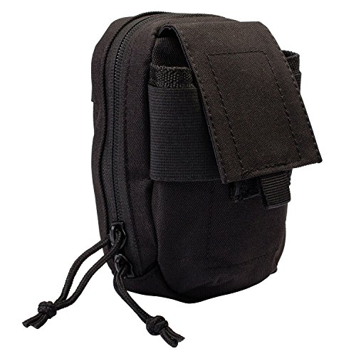 Micro Camera Pouch - 3V Gear MOLLE Tech Pouch - Padded Multiple Pocket Media Pouch for Cameras, Phones, iPods and Other Electronics - Black