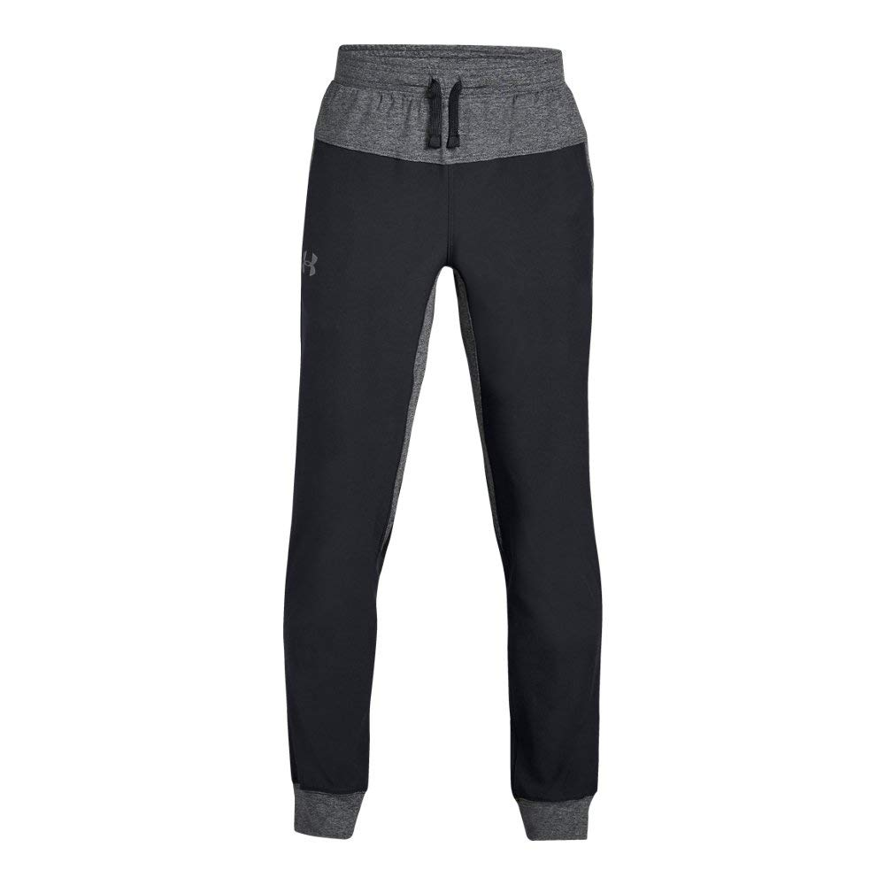Under Armour Boys Woven Warm Up Jogger, Black (001)/Graphite, Youth X-Large by Under Armour