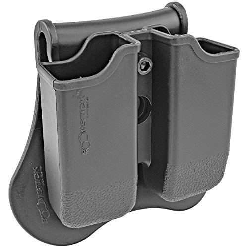 Dual Magazine 360 Swivel Paddle Pouch, Fits 9mm .38 .40 Caliber Glock 17 19 22 23 25 26 27 31 32 33 34 35 37 38 39