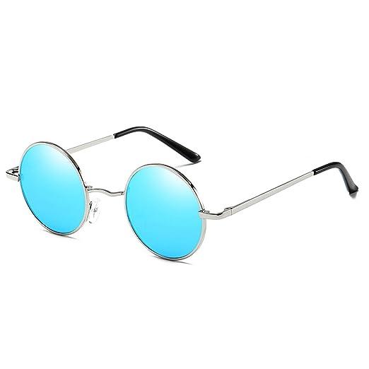 bfd0c38293 FEIDU Polarized Vintage Sunglasses for man Retro round sunglasses Unisex  FD3013 (Blue Silver