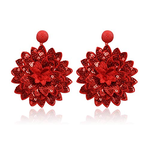 - Statement Sequins Flower Earrings for Women Girls Round Drop Dangle Embroidery Handmade Bohemian Lightweight Stud Earring Summer Jewelry with Gift Box - E6 Red