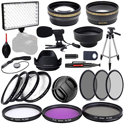 52MM Video creator Accessory Bundle (Microphone, Video Light UV, CPL, FLD, ND2, ND4, ND8 +Telephoto Lens + Macro Lens) for Nikon D5600 D5500 D5300 D5200 D5100 D5000 D7500 D7200 D7100 D7000 DSLR Camera