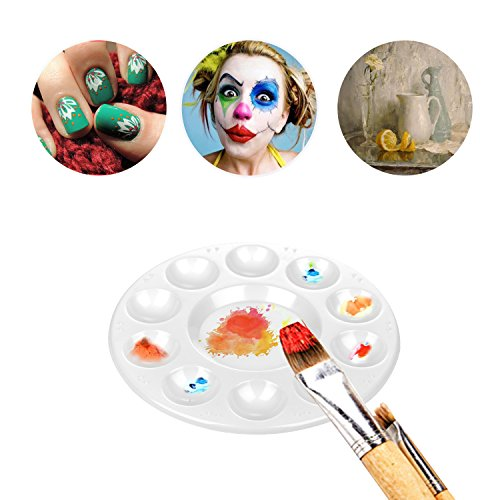 CENTSTAR 15 Pcs Round Paint Tray Palettes Plastic for Acrylic Oil Watercolor Craft DIY Art Painting Palettes, White (15 PCS)