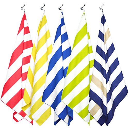 Your Choice Beach Towel Travel Beach Towel Microfiber Quick Dry Oversized Ultra Lightweight, Compact and Absorbent with Mesh Carry Pouch - Khaki & Dark Blue Stripes (Extra Large XL 35'' ()