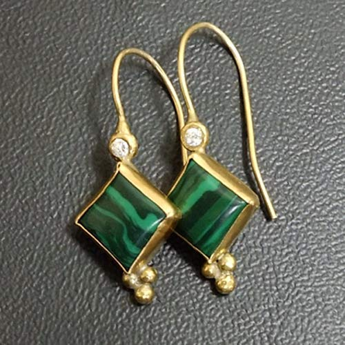 Ancient Design Jewelry Handmade Designer Malachite Earring With Zircon 22K Gold over Sterling Silver