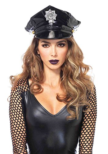 Ladies Police Halloween Costumes (Leg Avenue Women's Police Hat Costume Accessory, Black, One Size)