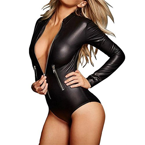 Wonder Pretty Womens Latex Wet Look Catsuit Sex Zip Front Bodycon Leather Club Jumpsuit Faux Leather Teddy (Front Leather Teddy)