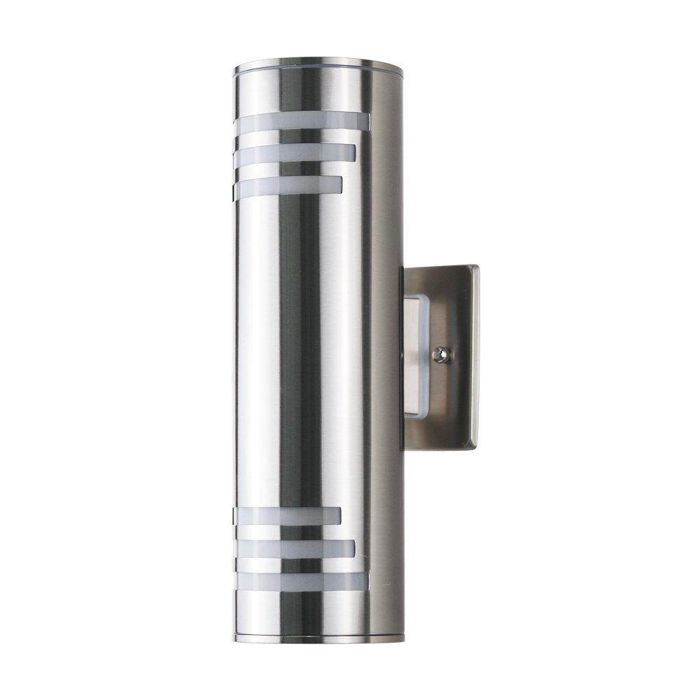 Outdoor Wall Light Fixture, UL Listed Exterior Wall Mounted Sconce, IP54 Weatherproof 304 Stainless Steel, Up/Down Cylinder for Garden & Patio