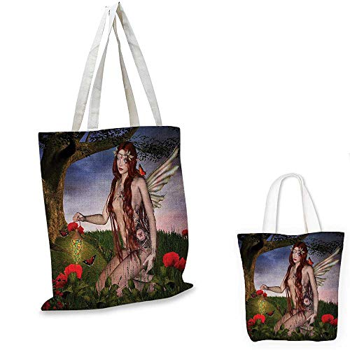 """Fantasy fashion shopping tote bag Redhead Fairy with Wings Holding a Butterfly Catcher Lantern Surrounded by Poppies canvas bag shopping Multicolor. 15""""x15""""-11"""""""