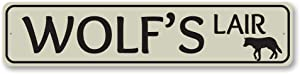 Wolf's Lair Sign, Custom Lake House Street Sign, Wolf Lover Gift Sign, Lake House Cabin Aluminum Decor - 9
