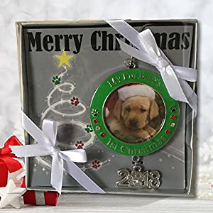 Banberry Designs Pet's First Christmas 2018 - Photo Ornament with 2018 Charm and Engraved My Fur Baby's 1st Christmas - Red and Green Christmas Keepsake Ornament