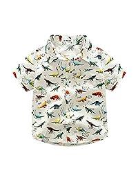 Vincent&July Toddler Baby Boys Cartoon Dinosaur Print Summer Tops T-Shirt 2-7T