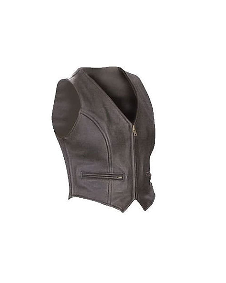 Clyde Stones Sexy Womens Ladies Real Black Leather Bikers Waistcoat Vest Zipped Front