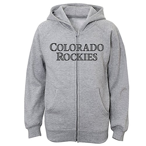 - MLB Colorado Rockies Youth Boys 8-20 Full Zip Fleece-M (10-12), Steel Heather