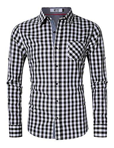 Plaid Sleeve Long Dress Shirt (MrWonder Men's Casual Fit Button Down Long Sleeve Plaid Dress Shirts Black M)