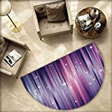 Eggplant Semicircular Cushion Abstract Colourful Beams Backdrop with White Stars Space Inspired Purple Lines Entry Door Mat H 55.1'' xD 82.6'' Multicolor